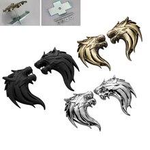 цена на 100% 3D Metal Wolf Head  Auto Motorcycle Car Sticker Logo Emblem 2Pcs/Pair ( Left + Right )  Decoration Car styling