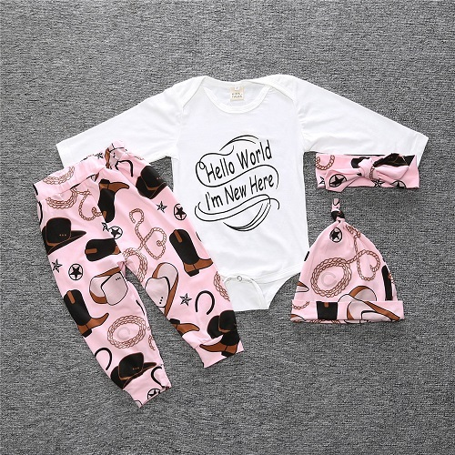 Little Man Printed Cotton Clothing Set for Baby Boys