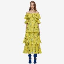 2018 Новые горячие Автопортрет взлетно-посадочной полосы платья Для женщин макси длинное платье желтый принт Slash шеи с плеча пляжное платье Vestidos