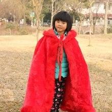 Длинная накидка с капюшоном в пол, красные и белые свадебные плащи, куртка из искусственного меха для зимы, Детская верхняя одежда и пальто с цветочным узором для девочек
