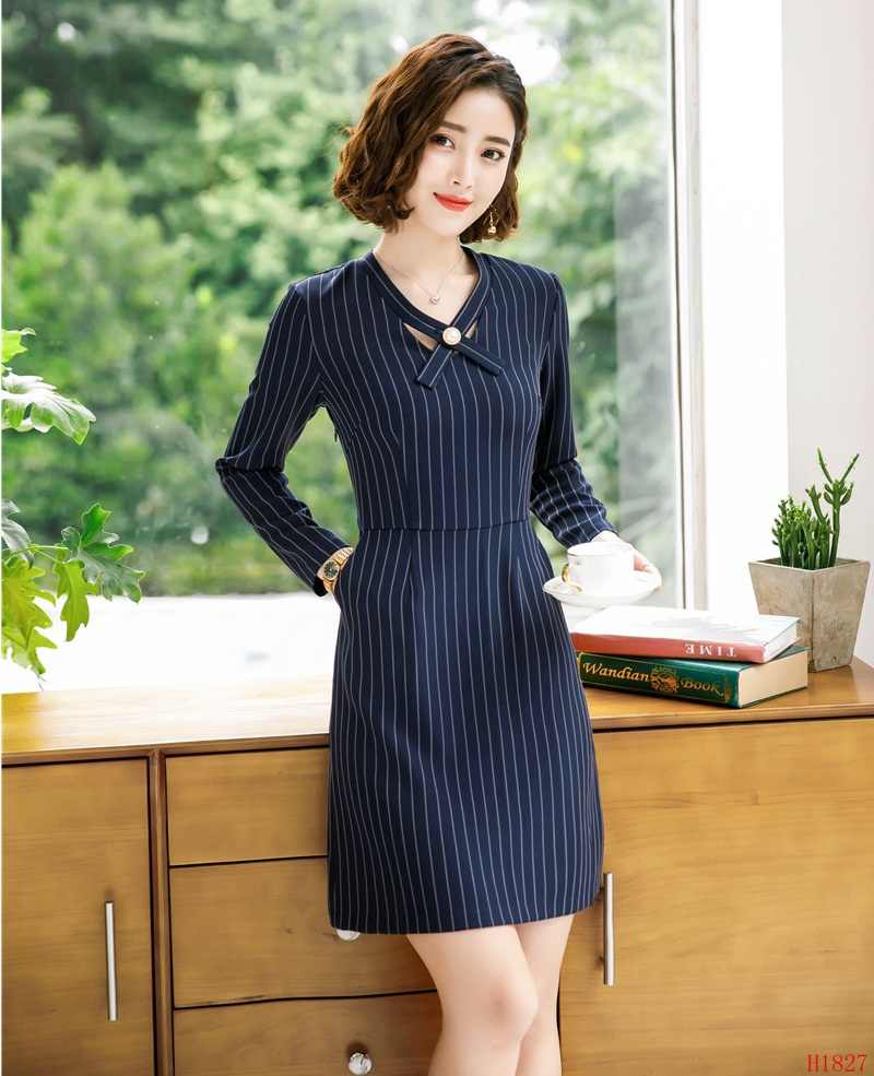 025eab41ba3a3 Fashion Women Work Dresses Navy Blue Striped Office Ladies Party Dress Long  Sleeve Female OL Styles