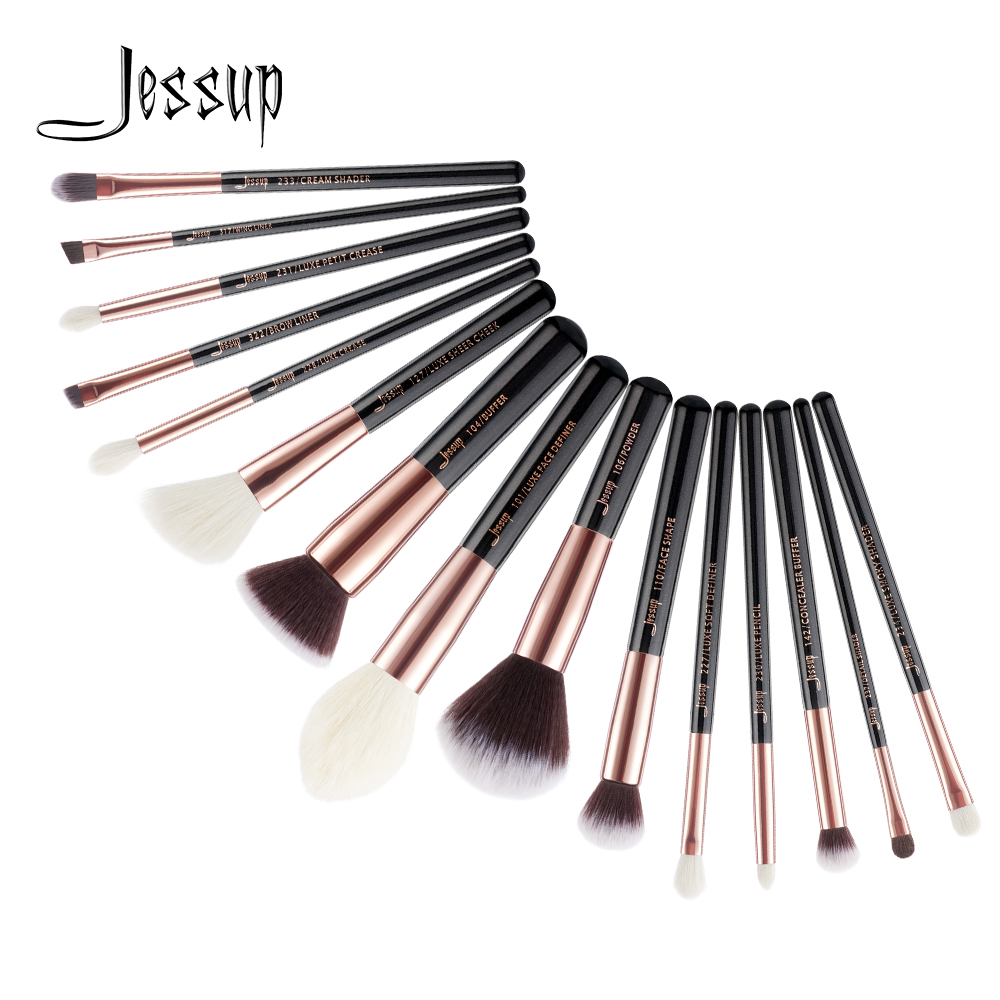 Jessup 15 stücke make-up pinsel set Dropshipping Schwarz/Rose gold pincel maquiagem Foundation Pulver Definierer Shader Pinsel T160