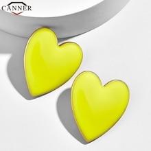 CANNER Romantic Fashion Heart Earrings Big Korean Stud Earrings for Women Jewellery Sweet Love Statement Earrings 2019 FF стоимость