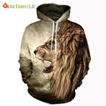 Actionclub 2017 primavera nuevos mens hoodies y sudaderas con gorro de impresión 3d animal león hip hop abrigos ropa deportiva casual