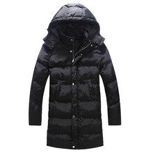 Зима хлопок-ватник длинная свободная мужчин ватные пальто со съемным колпачком Большой размер 5xl черный парка манто homme / MDY10