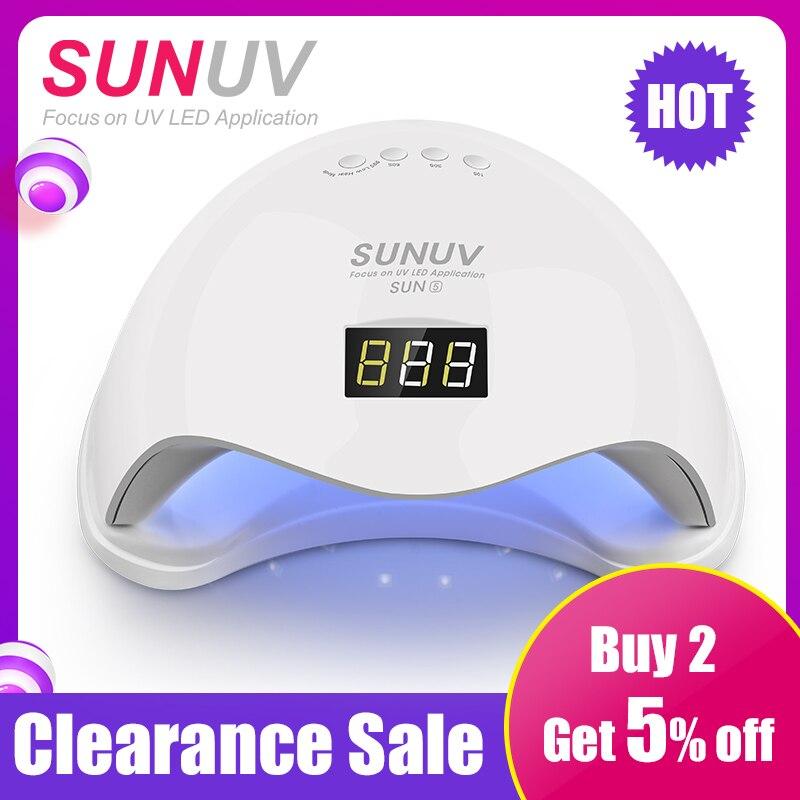 SUNUV SUN5 48 W Dual UV Del Chiodo Del LED Della Lampada Del Chiodo Polacco del Gel Che Cura Luce con la Parte Inferiore 30 s/ 60 s Timer display LCD