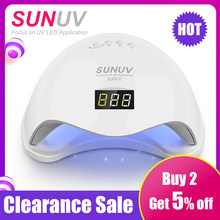 SUNUV SUN5 48W Dual UV LED Nail Lamp Nail Dryer Gel Polish Curing Light with Bottom 30s/60s Timer LCD display(China)