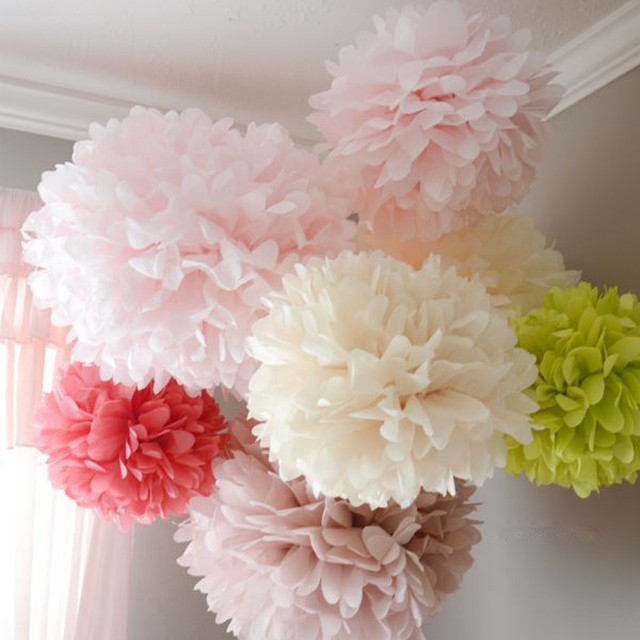 Wedding Decoration Events 5 pcs 15 20 25 cm Pom Pom Tissue Paper Pompom Ball Party Supplie Baby Shower Birthday Garland,Q