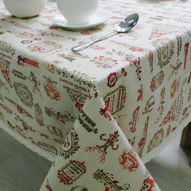 Xmas Table Linen Part - 50: Christmas Theme Linen Table Cloth With Lace Reindeer Print Multifunctional Tablecloths  Table Cover Xu0027mas Decor ZB-17