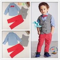 Retail 2016 Kids Boy Gentleman Suit New Autumn 3pcs Shirt Vest Trousers Boy Clothing Set