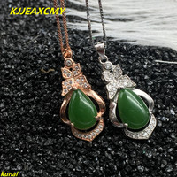 KJJEAXCMY boutique jewels 925 silver Natural green jade pendant necklace send female jewelry gemstone a