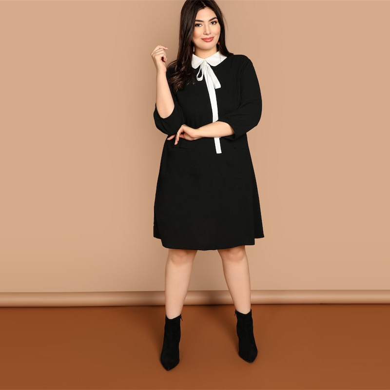 Plus Size Tie Neck Peter Pan Collar Preppy Style Women Black Straight Dress