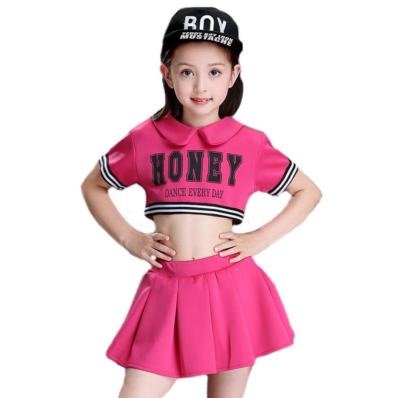 Children Competition Cheerleaders Girl School Cheer Team Uniforms Kids Performance Costume Sets Girls Cheerleading Suits