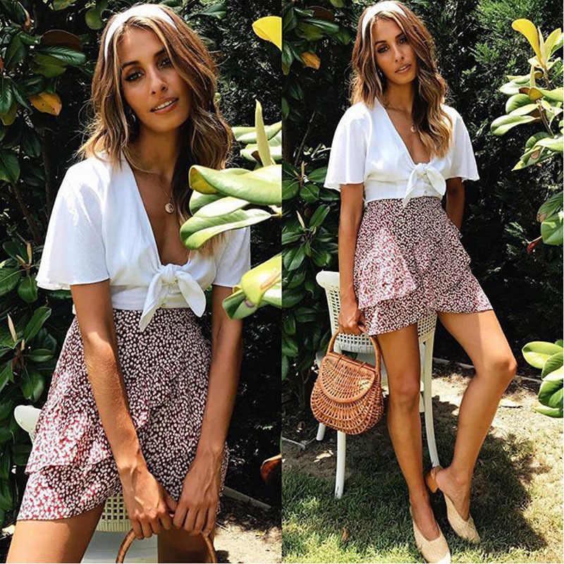 Multi point imprimé court Mini jupes femmes été à volants taille haute nœud papillon jupe dames Streetwear mince bas Saias 2019