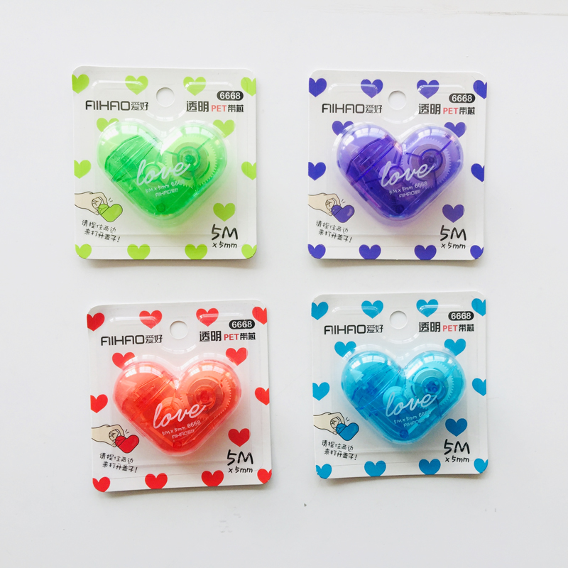 10X 5 Meters Cute Kawaii Candy Color Heart Shaped Correction Tape Correcting Stationery Corrector School Office Supply