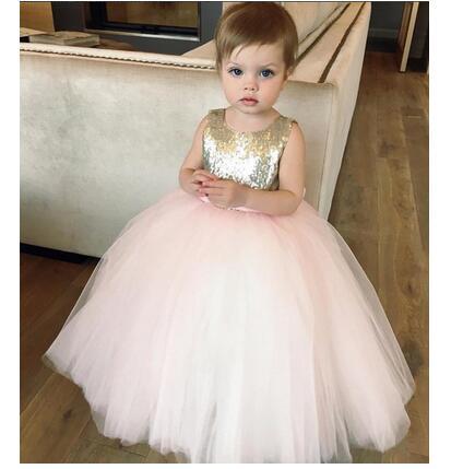 купить Girls Pageant Formal Dresses 2017 Korean Sequins Gauze Bow Gowns Kids Birthday Party Dress Children's Luxury Dress Dancewear дешево