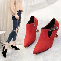 2018 Winter Korean Version Of The Spring And Autumn New Pointed Thin With High Heel Femininity