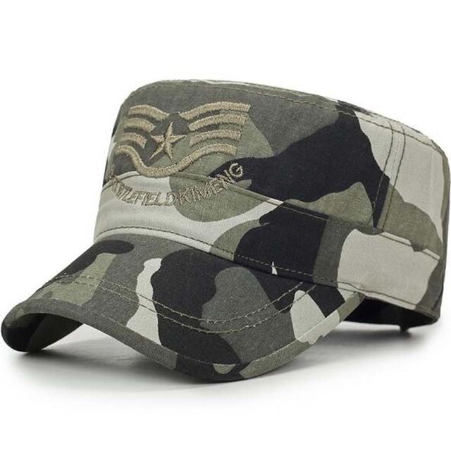 aef05f31f6fe9 2018 nuevo ejército superior plano hombre tapas y tapas sombrero ajustable de  algodón gorra de béisbol