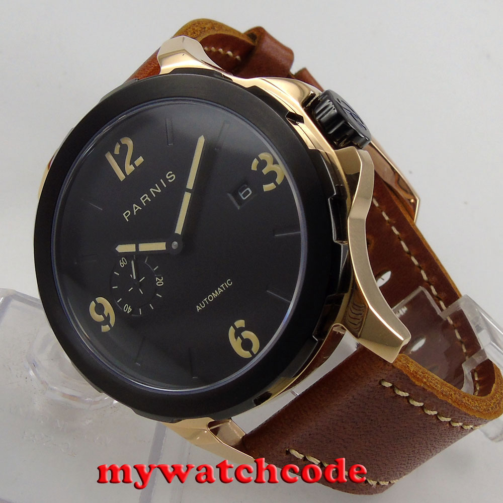 44mm Parnis black dialcase rose golden case Sapphire glass Automatic Mens Watch44mm Parnis black dialcase rose golden case Sapphire glass Automatic Mens Watch
