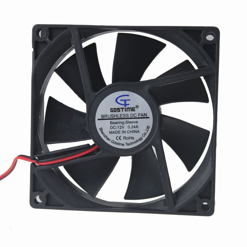 Gdstime 5 Pcs DC Fan 12V 92mm 92x92x25mm PC Cooler Brushless Computer Case Cooling Fan 2 Pin Two Wire new 3u ultra short computer case 380mm large panel big power supply ultra short 3u computer case server computer case