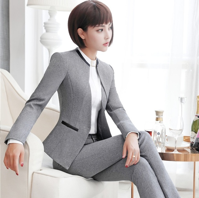 Elegant Grey Formal Blazers OL Styles Autumn Winter Jackets Coat For Ladies Office Outwear Female Tops Clothes Plus Size 4XL 2