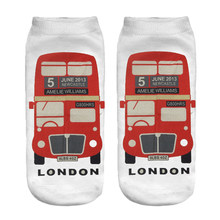london bus running chick digital print ankle socks women 2018 new(China)