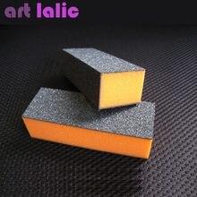 10 pçs cor laranja unha arte shiner buffer polimento bloco lixa manicure unhas arte dicas