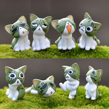 Cute 8pcs Cat Figurines Miniature Figurine Fairy Garden Terrarium Cheese  Miniatures Garden Decoration Miniature Fairy Figurines