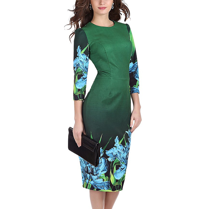 2016 Limited Sheath Plus Size Womens Autumn Vintage Dress Bodycon Print Flower Dresses New Office Round Neck Pencil Midi 062-1
