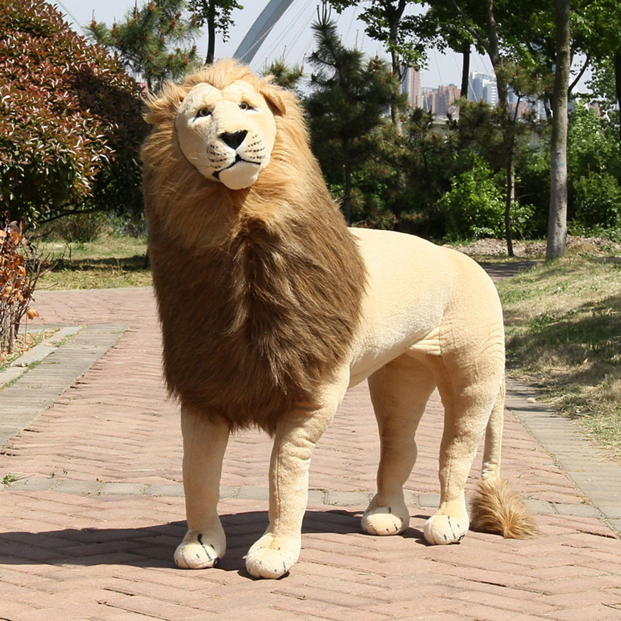 цены Giant Large Plush Lion Toy Simulation Animal Stuffed Cartoon Toys Doll For Children Soft Dolls Home San Easter Regalos 50T0344