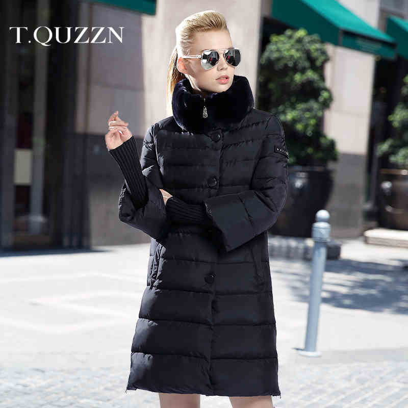 2015 New Hot Winter Thicken Warm Woman Down jacket Coat Parkas Outerwear Rabbit Fur collar Slim Long Plus Size 2XXL Luxury High top ec mens winter thicken warm smalltand collar down jacket coat