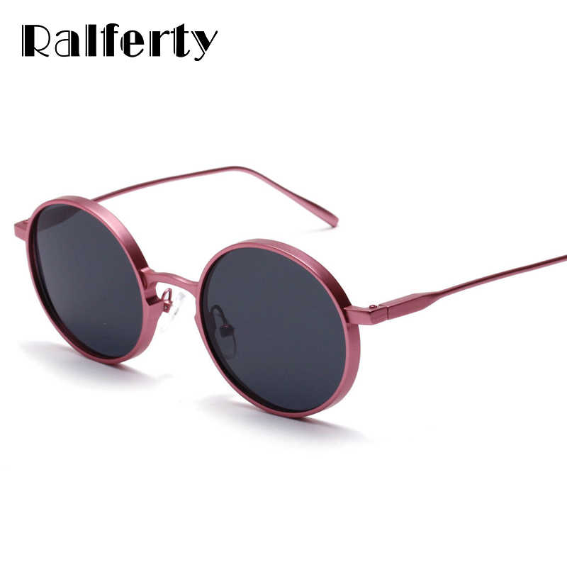 7a1bc86cfb Ralferty Vintage Round Sunglasses Women Brand Designer Circle Sunglass  UV400 Sun Glasses For Women Pink Metal