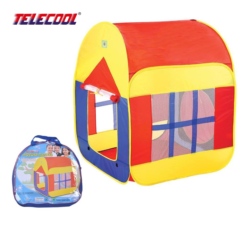 TELECOOL Cute Cartoon Child Play Game House Kids Play Tent Baby Breathable Toy Tent With Big House For Kids Christmas Gift kids crooked house kids crooked house