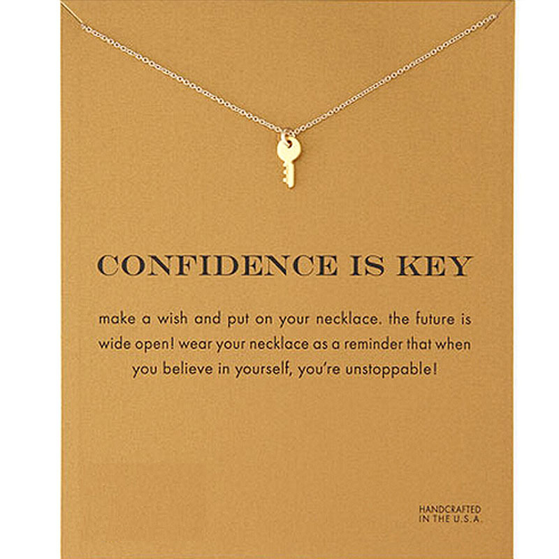 make wish confidence is key gold silver color small simple Clavicle Necklace Minimalism Pendant Necklace Women