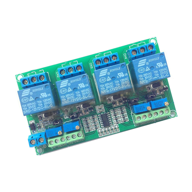 4 way relay module four channel voltage comparator circuit module LM339 LM393 circuit 5Vor 12V or24V 1pcs current detection sensor module 50a ac short circuit protection dc5v relay