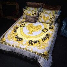 Элитные роскошные королевские Франция, Италия дизайн рококо печати Король Королева Размер одеяла Белый Синий Золотой свадьбные постельные комплекты