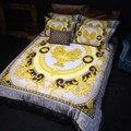 Juego de cama de boda de lujo de alta gama con diseño de Italia francesa rococó impresión Rey reina tamaño edredones blanco azul oro
