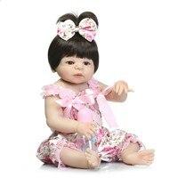 NPK 19inch 46cm Soft full Silicone Reborn Dolls Baby Realistic Doll Reborn Full Vinyl Boneca BeBes Reborn Doll For Girls