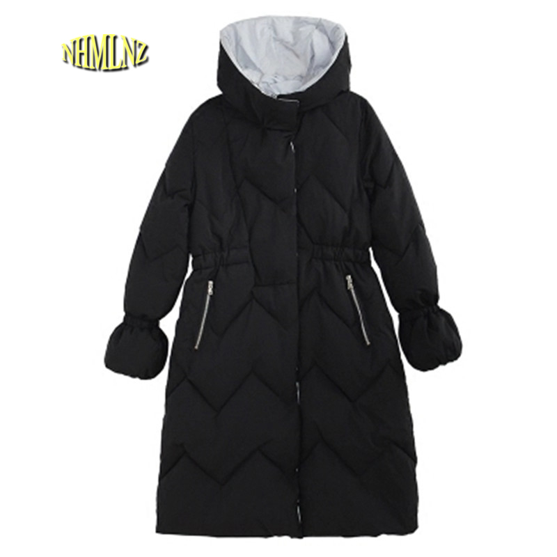 Winter Women New Thick Long Super Warm Hooded Cotton-padded Jacket Slim Fashion Large Size Hgh-quality Cotton Outerwear OK10 women thick winter large size long section padded hooded outerwear new fashion fur collar slim padded cotton warm coat jacket