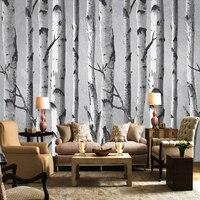 Handgemalte Weiße Birke Muster Wandbild Tapete Wandverkleidung Schwarz Weiß Grau Forest Kulisse Tapete Für Wohnzimmer