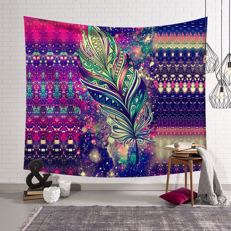 New feather Mandala Indian Tapestry Wall Hanging Bohemian Beach Towel Polyester Thin Blanket Yoga Shawl Mat tapisserie murale image