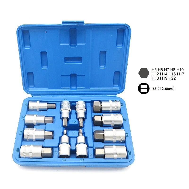 12 pcs Métrique Hex Bit Socket Set 1/2 Drive Clé Allen Chrome Vanadium acier Tournevis Bit Sockets