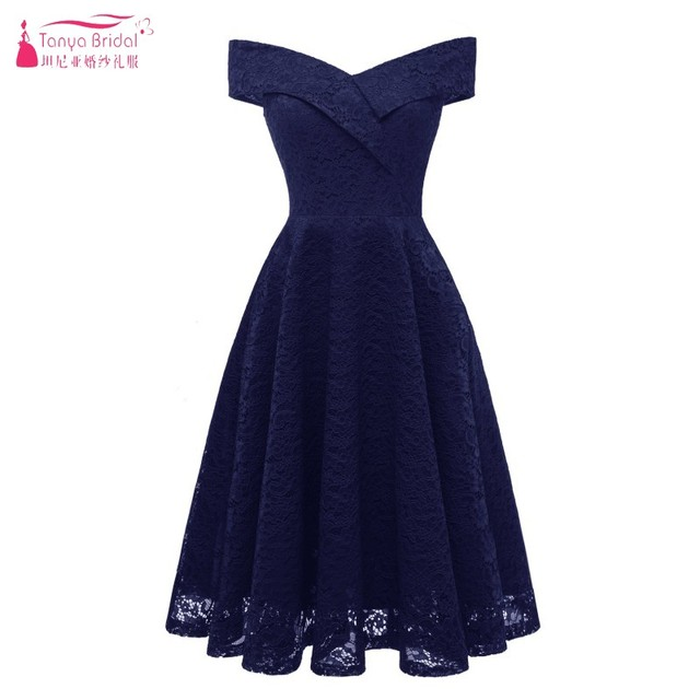Us 69 0 Aliexpress Com Buy Knee Length Lace Bridesmaid Dresses Vintage V Neck Wedding Guest Dress Gown Party Bridesmaids Gowns Dqg601 From