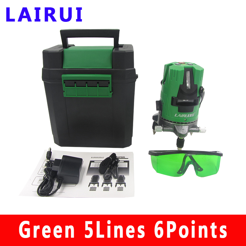 Lairui 5 Line Green Laser Level 360 Degree Rotary Laser Line Measurement Diagnostic Tool With Lithium