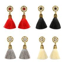 Fashion Bohemian Crystal Tassel Earrings Black White Blue Red Silk Fabric Long Drop Dangle For Women Jewelry