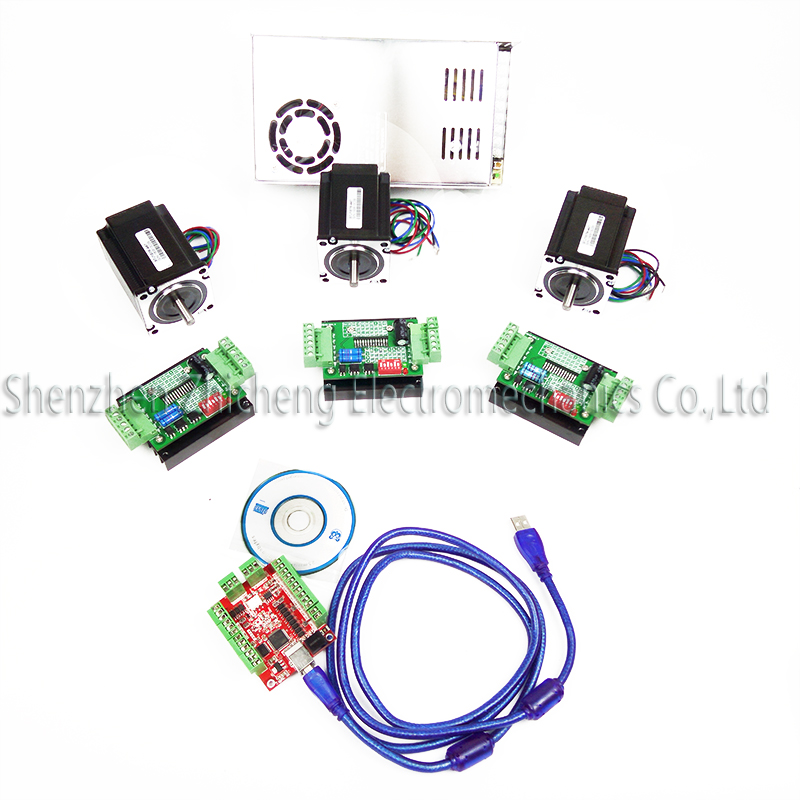 CNC mach3 USB 4 Axis Kit, 3pcs TB6600 stepper driver+ mach3 USB stepper motor controller board+ 3pcs nema17 motor +power supply 3pcs i9300 power supply ic max77686