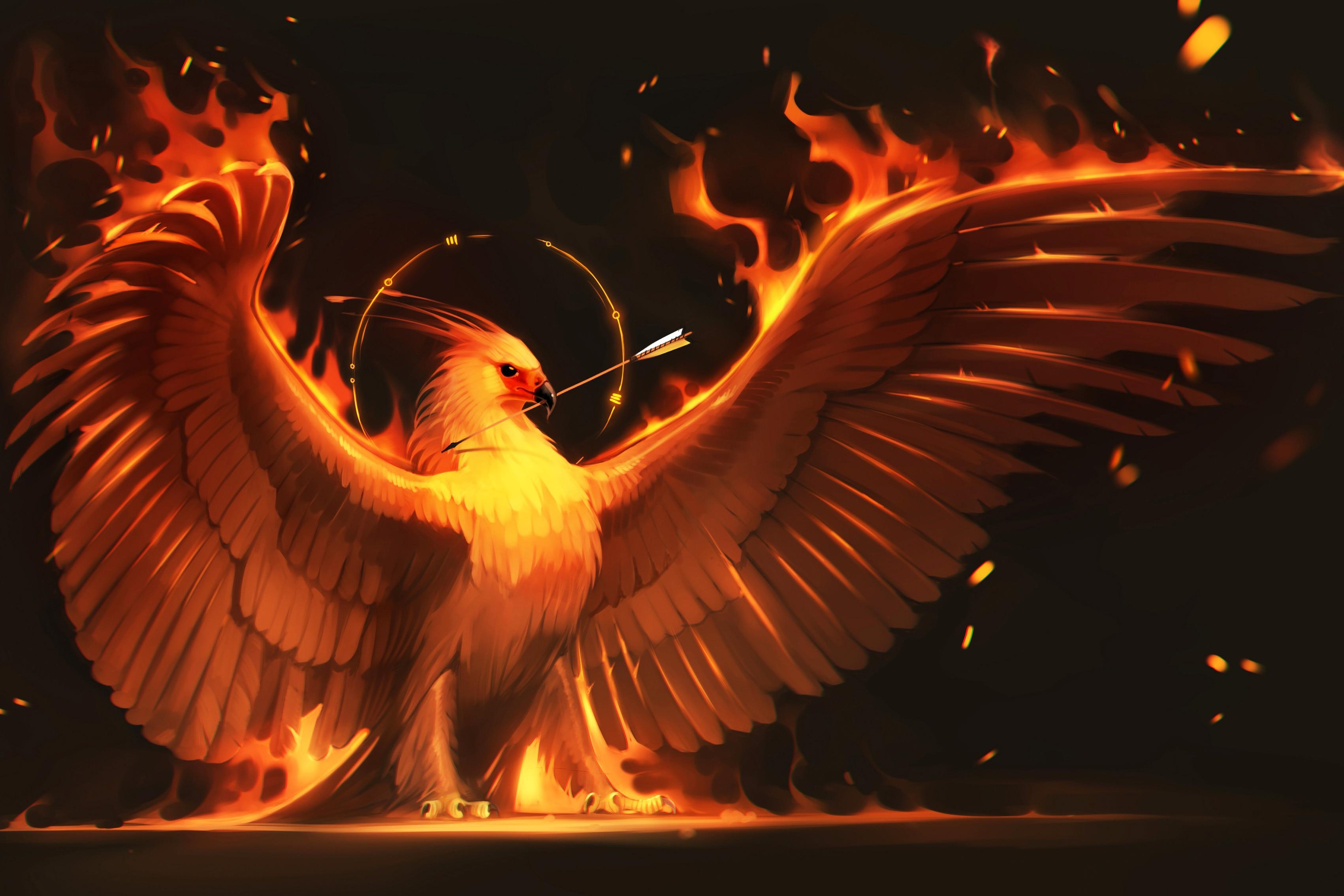 Fire Arrow Phoenix Bird Art Wings Phoenix Living Room Home