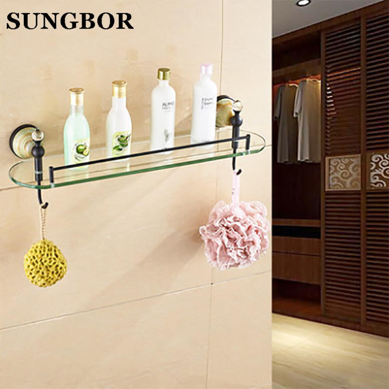 Bathroom Shelves Wall Mounted Jade Golden Bathroom Shelf Brass Made Base + Glass Shelf Single Tier Bathroom Accessories Y-95813H [zob] new original omron omron button switch a3sa 90a1 24ey 2pcs lot