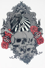 Skull With Flower Dark COOL Tattoo 21 X 15 CM Sized Sexy Cool Beauty Tattoo Waterproof Hot Temporary Tattoo Stickers