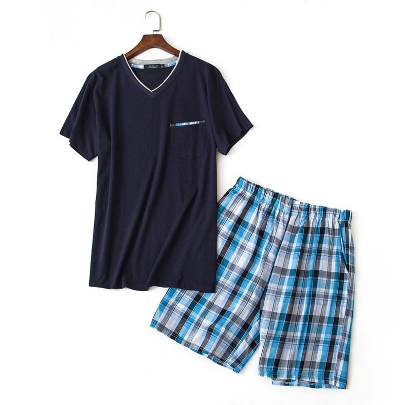 Summer 100% Cotton Short Pajama Sets Men Sleepwear Sexy V-neck Homewear Short Sleeve Male Pijamas Hombre Pyjamas Mens Sleepwear